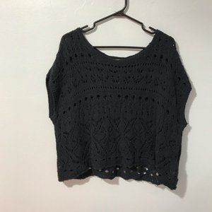 Abercrombie & Fitch Black Crochet Sleeveless Top